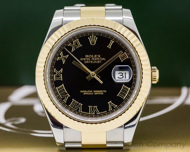 Rolex 116333 Datejust II 18K / SS Black Roman Dial