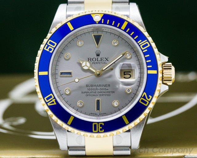 Rolex Submariner 16613 18K / SS Silver Serti Dial NEW OLD STOCK - STICKERS