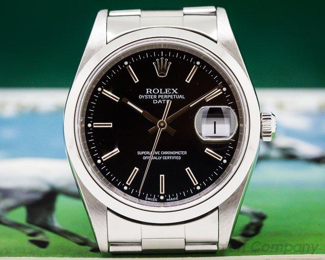 Rolex Date Black Dial SS FULL SET