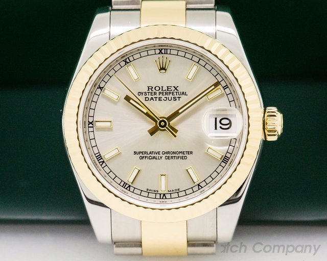Rolex Ladies Midsize Rolex Datejust Silver Stick SS / 18k