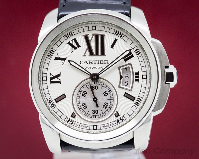 Cartier W7100037 Calibre de Cartier Silver Dial SS / Alligator