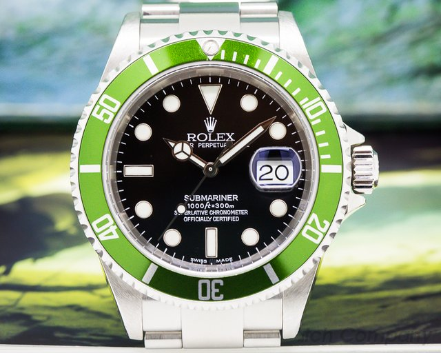 "Rolex ""F SERIES"" Submariner 50th Anniversary Green Bezel FULL SET"