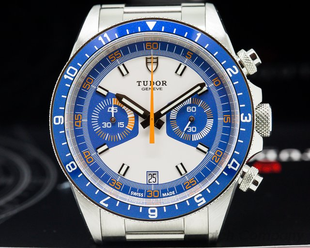 Tudor 70330B Heritage Chronograph Silver Dial w/Blue Counters SS