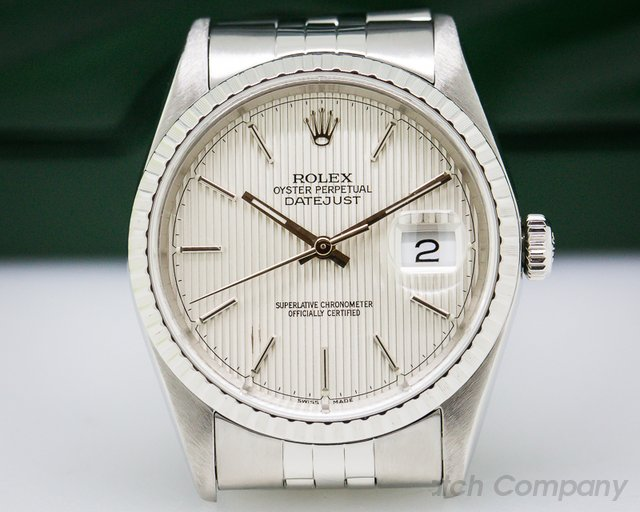 Rolex Datejust Silver Tapestry Dial SS Jubilee