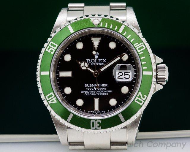 Rolex 16610 LV Submariner 50th Anniversary SS Green Bezel