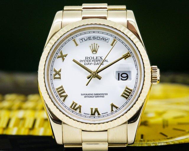 Rolex 118238 Day Date President White Roman Dial 18K Yellow Gold