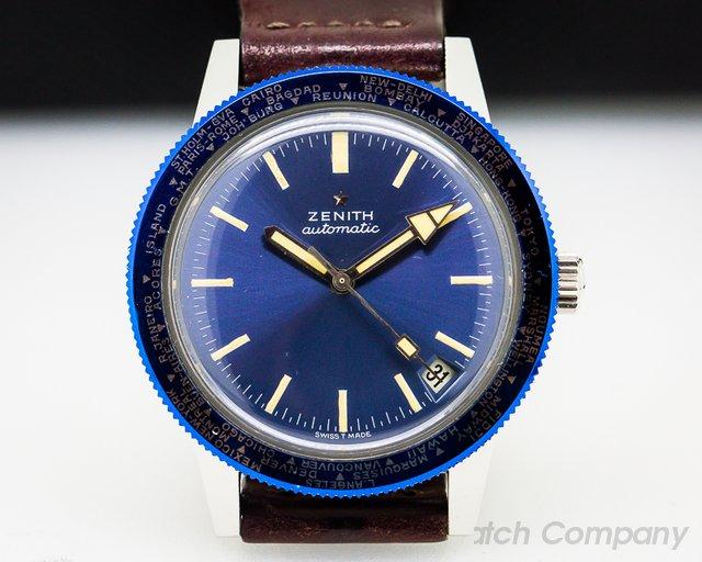 Zenith A3634 Vintage Diver World Timer RARE SS Circa 1973