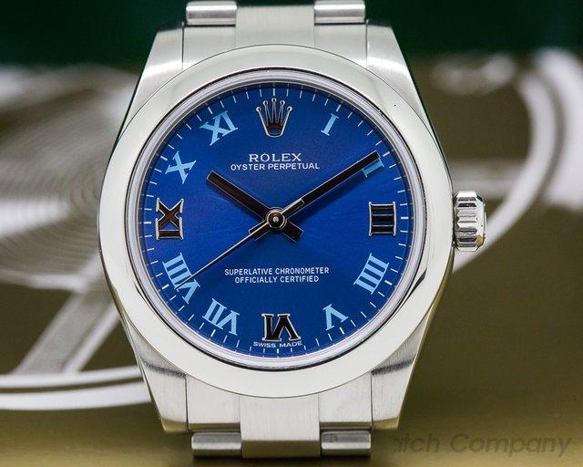 Rolex 177200 Oyster Perpetual Ladies Azzurro Blue Roman Numerals
