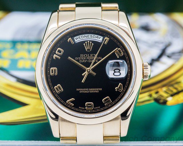 Rolex 118205 Day Date Oyster President Black Arabic Dial 18K Rose Gold