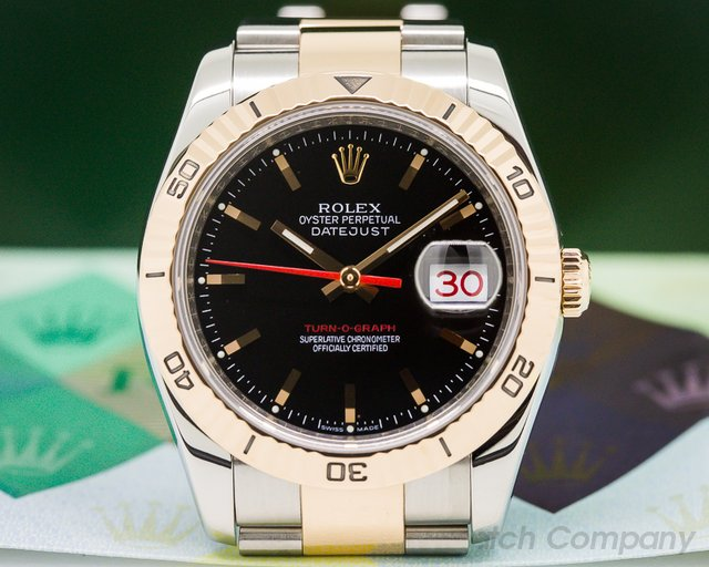 Rolex 116261 Datejust Turn-O-Graph Black Dial SS / RG