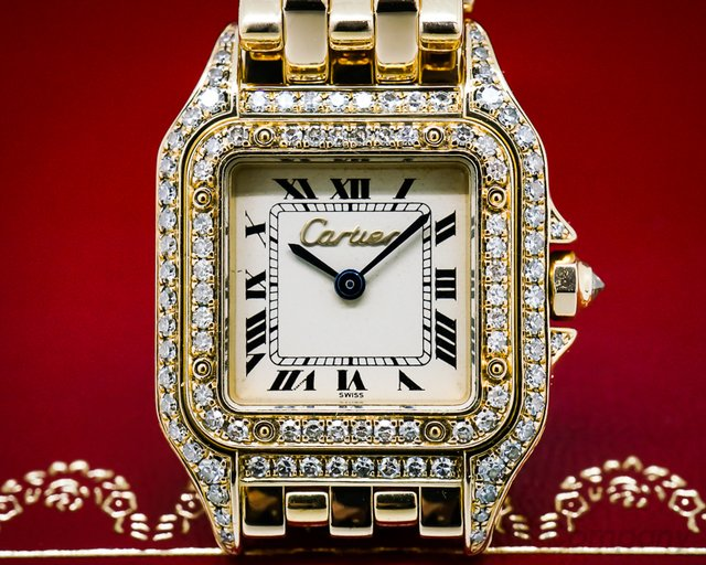 Cartier Ladies Mini Panthere 18K YG Diamond Case Quartz