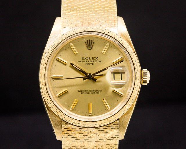 Rolex Oyster Date 18K Yellow / RARE MESH BRACELET