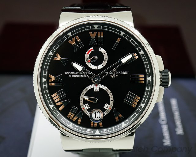 Ulysse Nardin 1183-122-42 Marine Chronometer Manufacture Black Dial SS