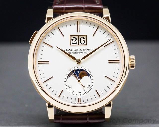 A. Lange and Sohne Saxonia Moon Phase Automatik 18K Rose Gold / Silver Dial UNWORN