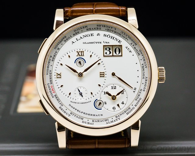 A. Lange and Sohne 116.032 Lange 1 Time Zone 18K Rose