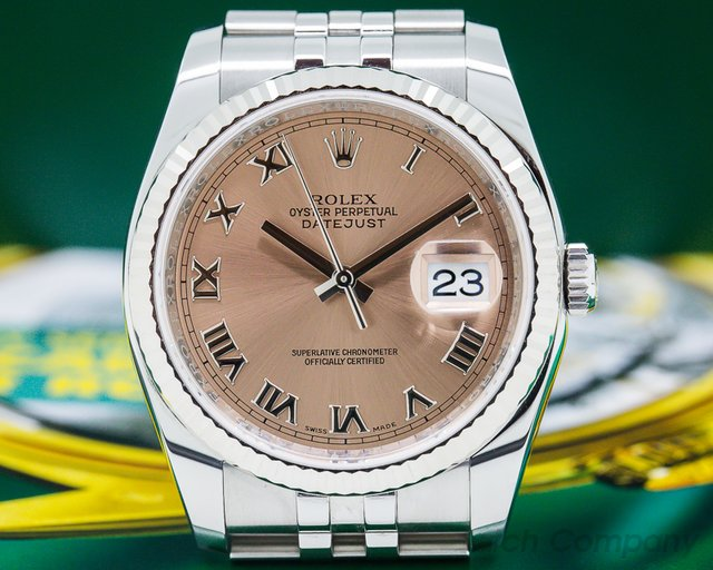 Rolex 116234 Datejust SS Jubilee Salmon Roman Dial