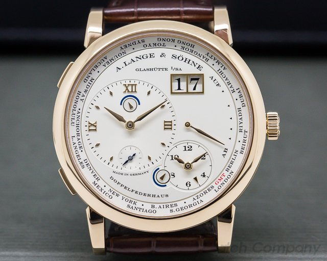 A. Lange and Sohne 116.032 Lange 1 Time Zone 18K Rose Gold + Deployant Buckle