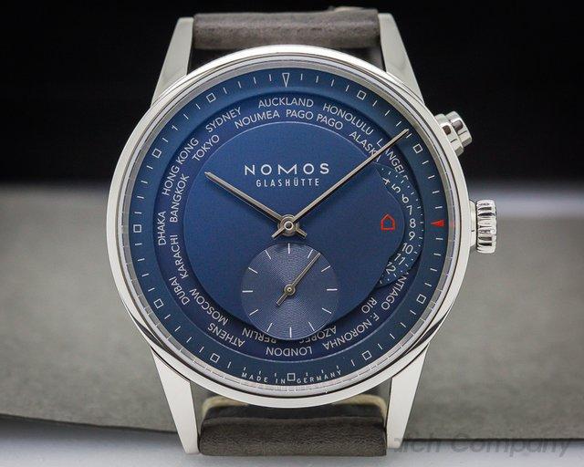 """Nomos Zurich """"Weltzeit""""  Blue World Timer SS / Leather"""