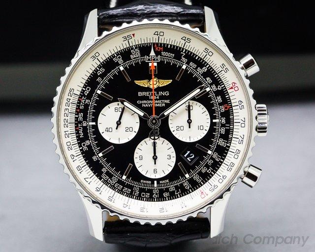Breitling Navitimer 01 Chronograph Black Dial Black Leather