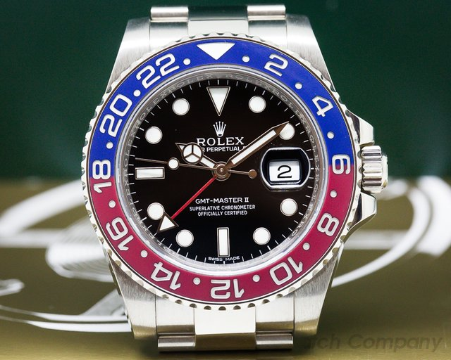 Rolex GMT Master II Blue / Red 18K White Gold