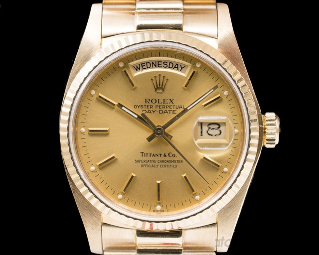 "Rolex Day Date ""TIFFANY & CO"" Yellow Gold / President Bracelet"
