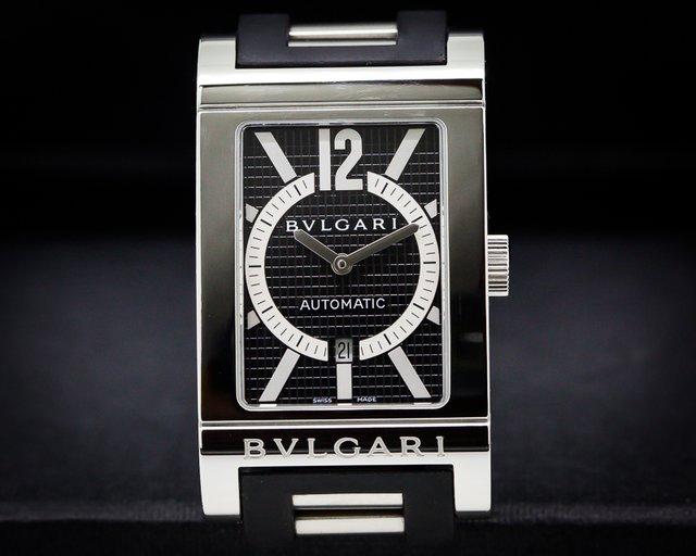 Bvlgari Rettangolo Black Dial SS/SS Rubber Bracelet Automatic