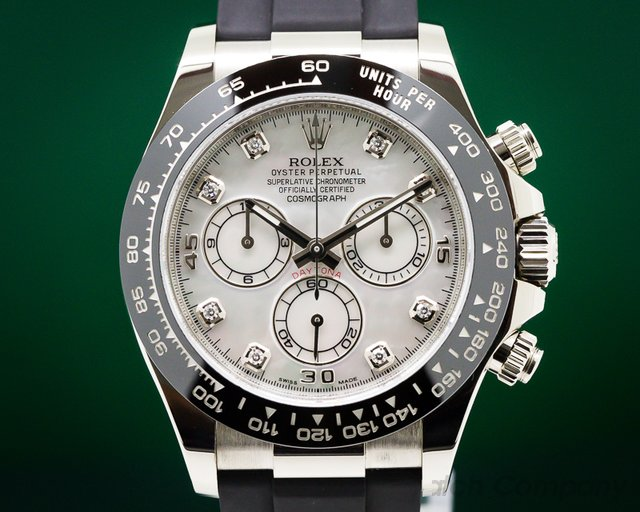Rolex Daytona 18K White Gold Mother of Pearl Dial DIAMONDS