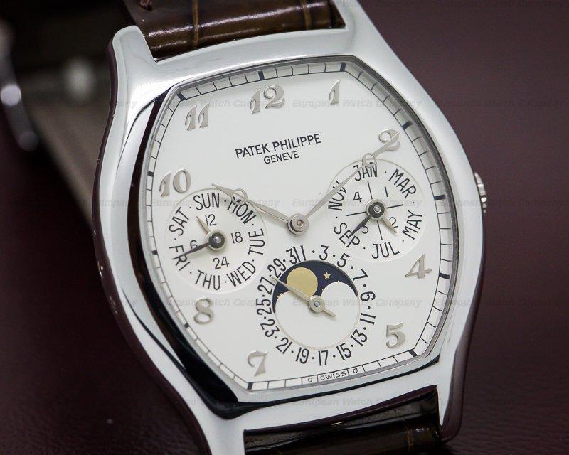 Patek Philippe 5040P Perpetual Calendar Tonneau Platinum Silver Arabic Numerals