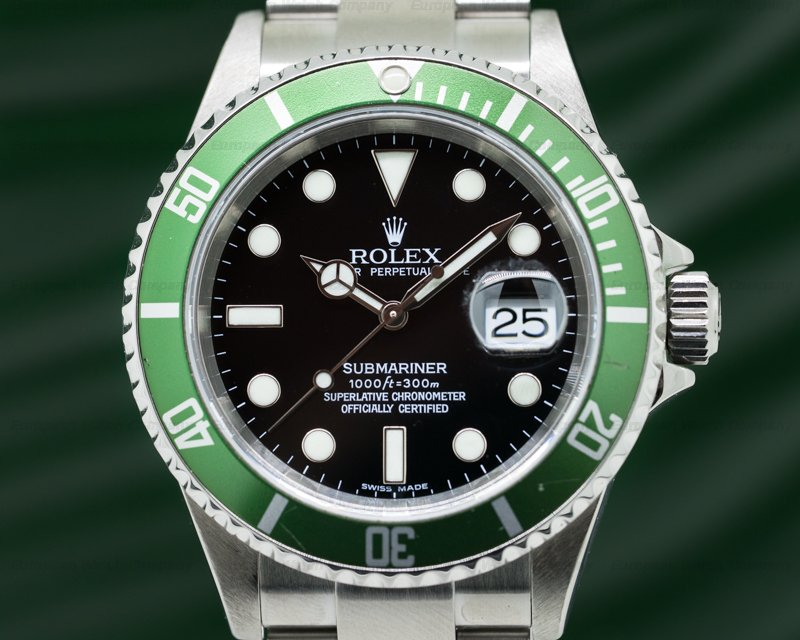 27277 rolex 16610lv submariner 50th anniversary ss green bezel. Black Bedroom Furniture Sets. Home Design Ideas