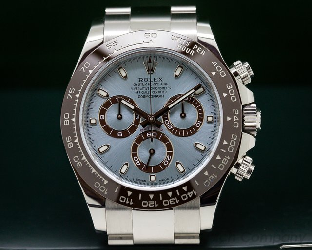 Rolex Daytona Platinum Glacier Blue / Brown Ceramic