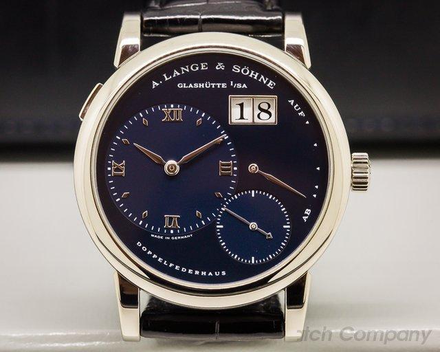 A. Lange and Sohne Lange 1 Blue Dial 18k White Gold