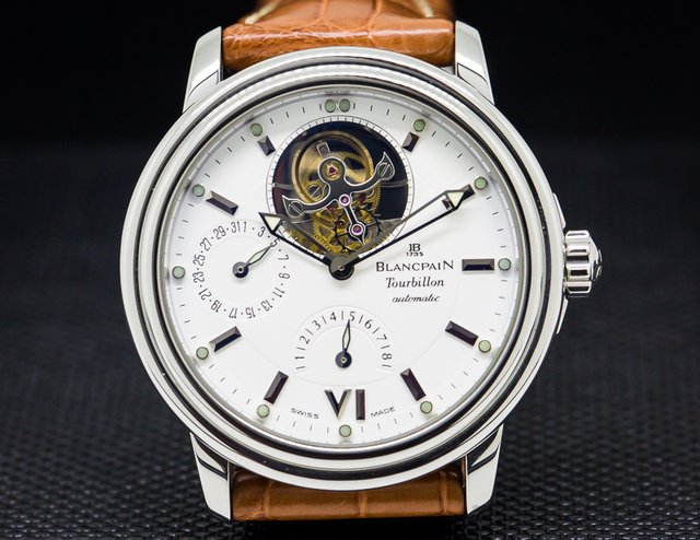 Blancpain Leman Tourbillon 8 Day Power Reserve White Dial SS Automatic