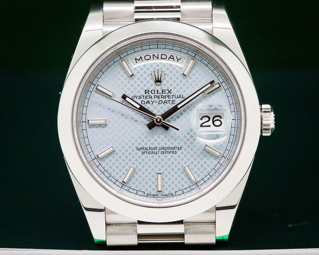 Rolex Day Date Platinum Blue Dial 40mm
