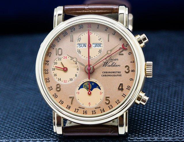 Oscar Waldan Oscar Waldan Triple Calendar Chronometre Chronographe 18K Rose Gold