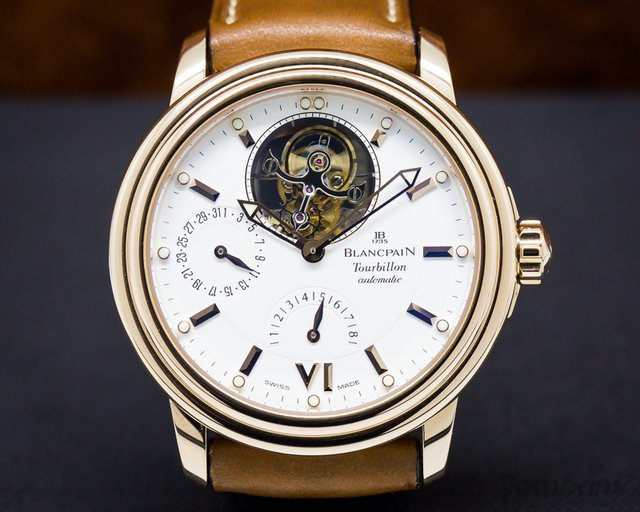 Blancpain Leman Tourbillon 8 Day Auto White Dial 18k Rose Gold