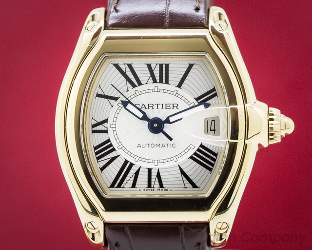 Cartier W62005V2 Roadster Automatic 18K Yellow Gold Silver Dial