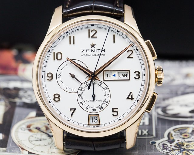 Zenith Captain Windsor Chronograph 18k Rose Gold / White Dial