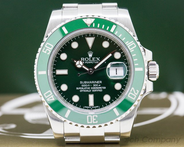 Rolex 116610V Submariner Green Ceramic Bezel Green Dial SS