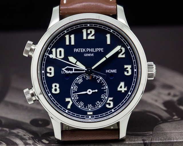 Patek Philippe Calatrava Pilot Travel Time 18k White Gold