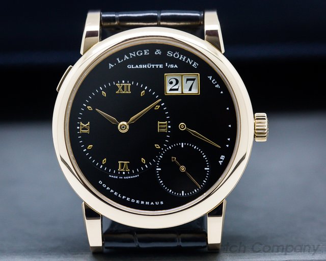 A. Lange and Sohne 101.031 Lange 1 18K Rose Gold Black Dial + Deployant Buckle