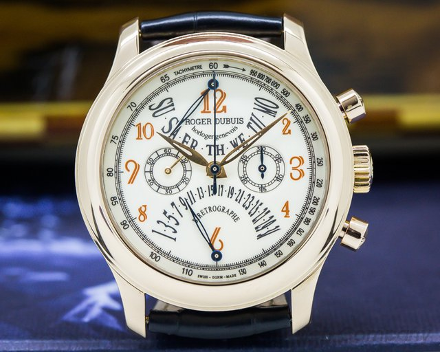 Roger Dubuis H40 5630 5 Hommage Bi-Retrograde Chronograph Silver Dial 18K Rose Gold