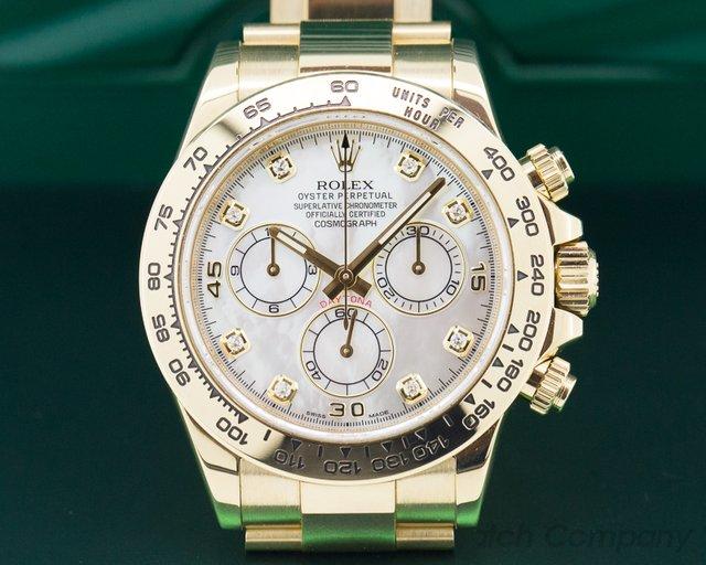 Rolex 116508 Daytona Mother of Pearl Diamond Yellow Gold / Bracelet