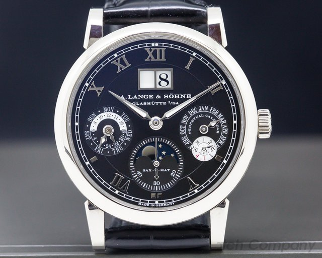 A. Lange and Sohne 310.026 Langematik Perpetual Calendar Black Dial 18K White Gold