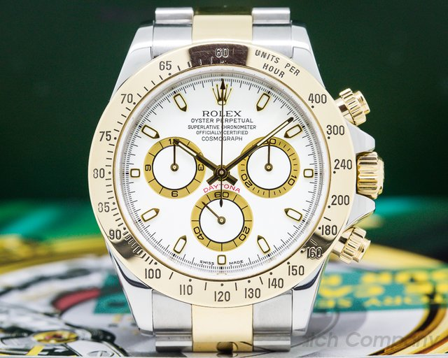 Rolex 116523 Daytona White Dial 18K Yellow Gold / SS