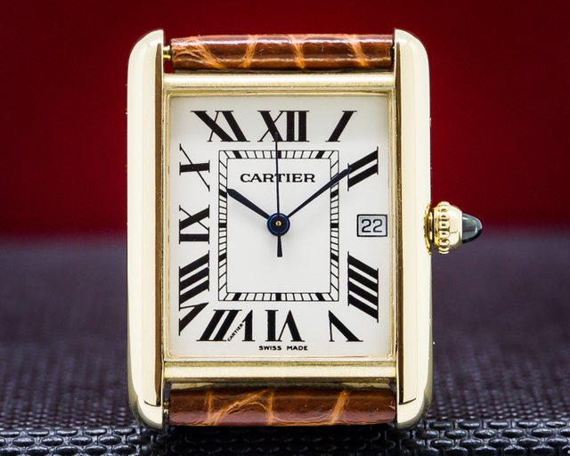 Cartier  Tank Louis 18K Yellow Gold Quartz Deployment