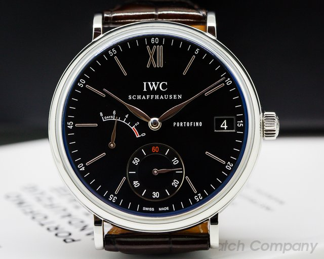 IWC IW510102 Portofino Hand Wound Eight Days SS Black Dial