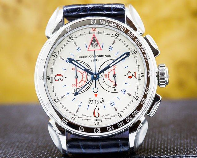 Cuervo y Sobrinos 3201.1I Vuelo Chronograph SS White Dial