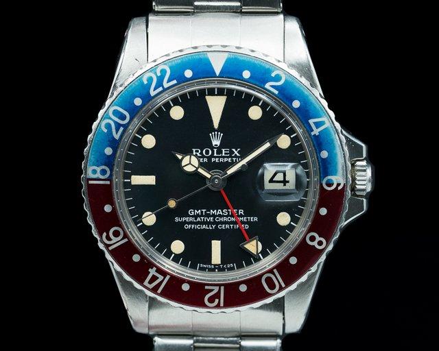 "Rolex 1675 Vintage GMT Master 1675 ""Pepsi Bezel"" SS Circa 1968"