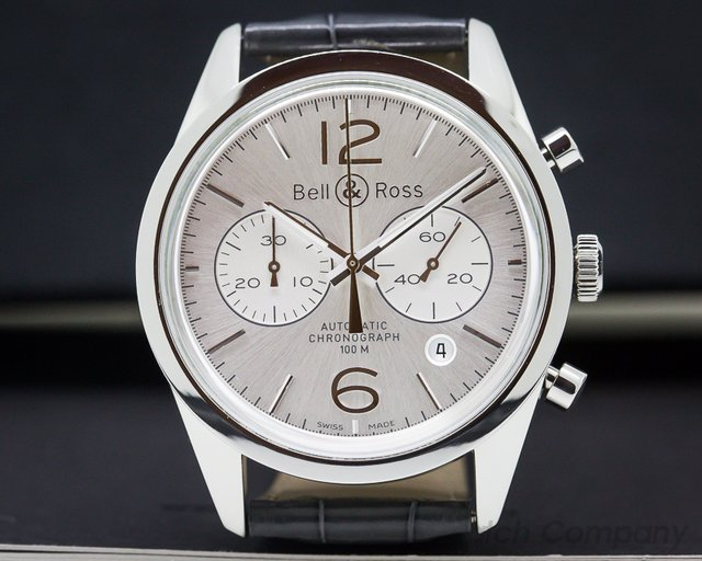 Bell & Ross BRG126-WH-ST-SCR BR 126 Vintage Officer Chronograph SS / Strap