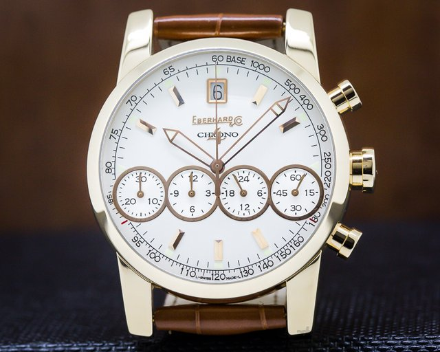 Eberhard 30058 Chrono 4 White Dial Rose Gold